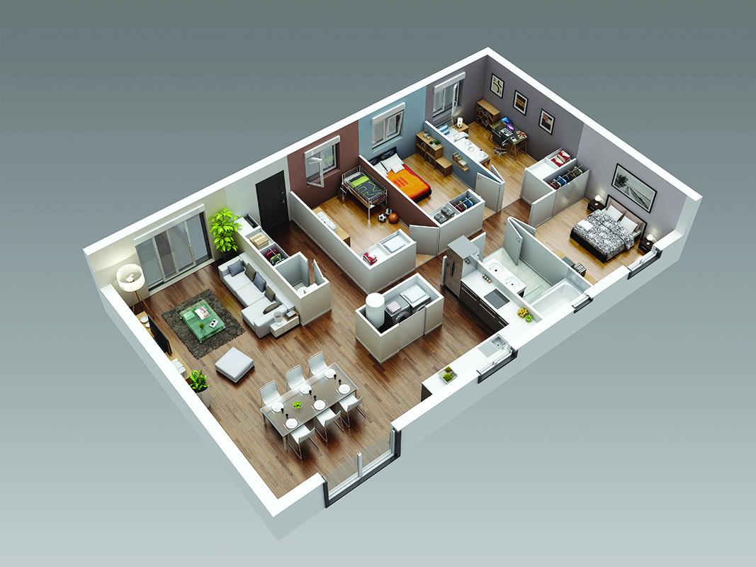 Maisons bois standards habit bois for Plan maison 80 m2 plain pied